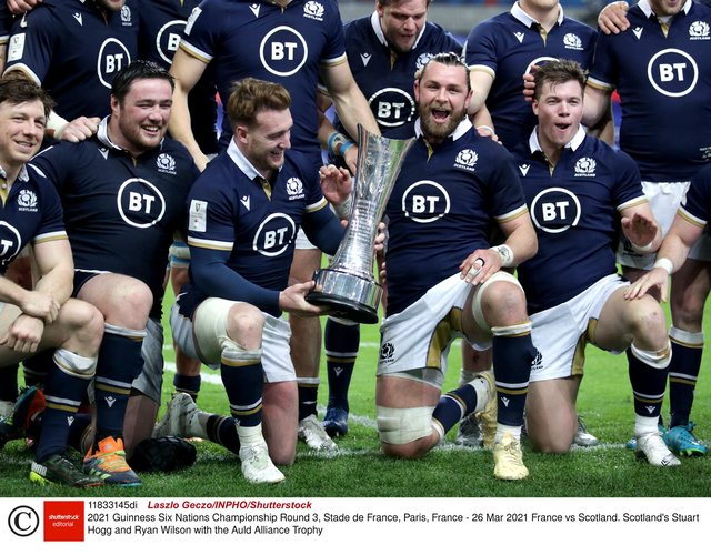 Ryan Wilson, right, lifted the Auld Alliance Trophy with Scotland captain Stuart Hogg. Picture: Laszlo Geczo/INPHO/Shutterstock