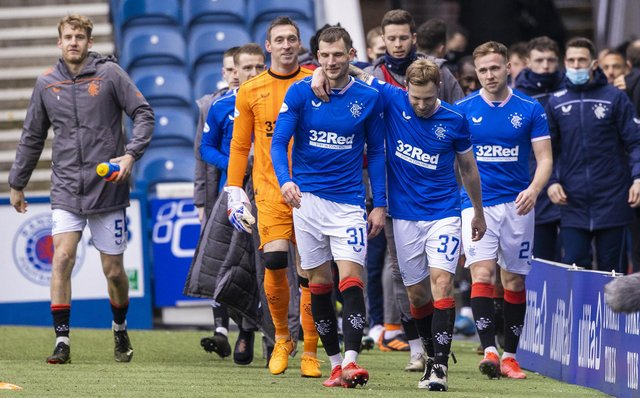 Rangers' players celebrate at full time during a Scottish Premiership match between Rangers and St Mirren at Ibrox Stadium, on March 06, 2021, in Glasgow, Scotland. (Photo by Craig Williamson / SNS Group)