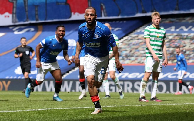 Kemar Roofe of Rangers celebrates after scoring their team's third goal  during the Ladbrokes Scottish Premiership match between Rangers and Celtic at Ibrox Stadium on May 02, 2021 in Glasgow, Scotland. (Photo by Ian MacNicol/Getty Images)