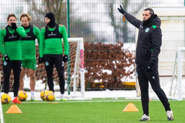 Hibs manager Jack Ross takes a training session ahead of the midweek league match against Rangers. Photo by Ross MacDonald / SNS Group