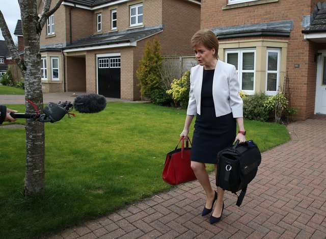 First Minister of Scotland, Nicola Sturgeon, leaves her home in Glasgow. Picture: Andrew Milligan/PA Wire
