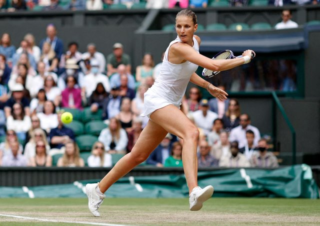 Karolina Pliskova on her way to winning a semi-final slug-fest to reach the women's final