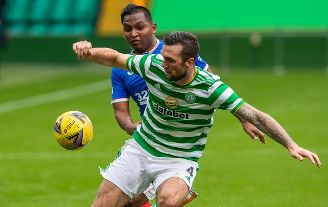 Celtic's Shane Duffy (right) with Alfredo Morelos during a Scottish Premiership match between Celtic and Rangers at Celtic Park on October 17, 2020 (Photo by Alan Harvey / SNS Group)