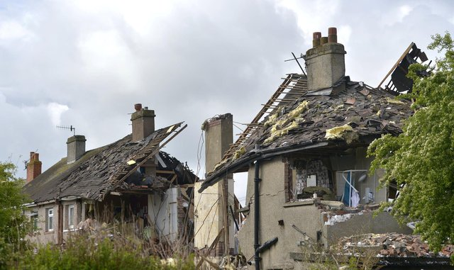 The scene this morning at Mallowdale Avenue, Heysham after a suspected gas explosion.