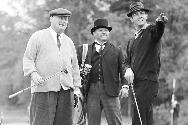 Sean Connery filming the golf scene for Goldfinger in May1964