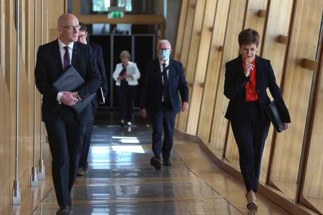 First Minister Nicola Sturgeon before First Ministers Questions on Wednesday at the Scottish Parliament, Edinburgh.