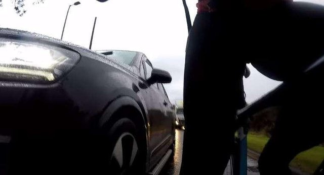 Cycle cam footage of an incident involving a rider and driver near Glasgow. Picture: David Brennan