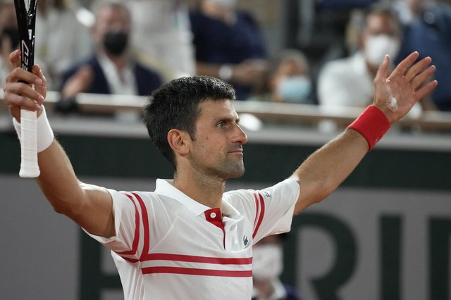 Novak Djokovic reacts as he defeats Rafael Nadal during their semi-final at the French Open. Picture: Michel Euler/AP