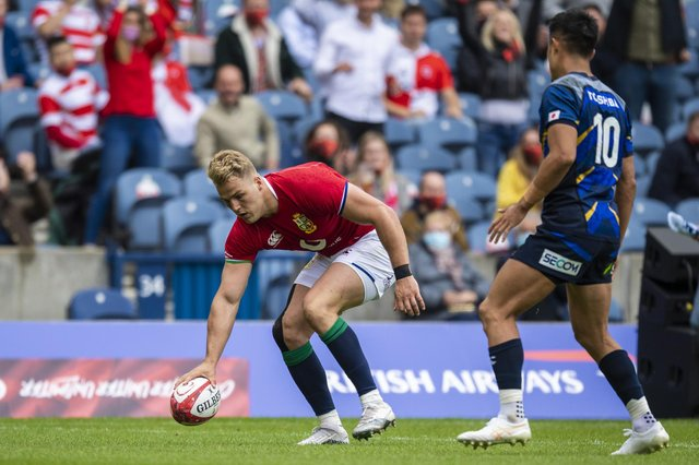 Duhan van der Merwe scores the Lions' second try against Japan at Murrayfield. Picture: Ross Parker/SNS
