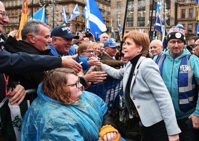 Nicola Sturgeon meets people among the crowd in Glasgow's George Square for a pro-independence rally (Picture: John Devlin)