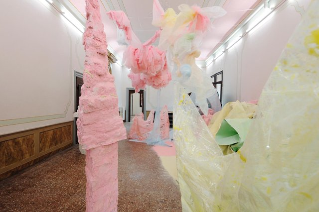 Installation view of Karla Black's installation at Palazzo Pisani, Venice, 2011 PIC: Courtesy the artist and Galerie Gisela Capitain, Cologne / Photograph Gautier Deblonde