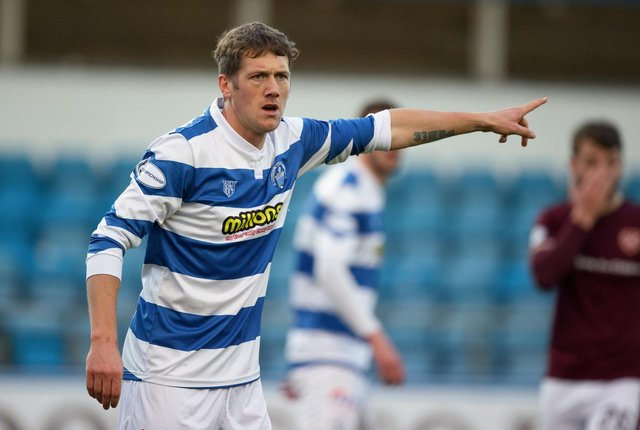 Jim McAlister in action for Morton against Hearts earlier this season. Picture: SNS