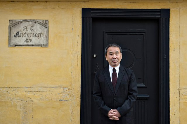 Haruki Murakami pictured outside Hans Christian Andersen's house in Odense PIC: Henning Bagger / Scanpix Denmark / AFP via Getty Images