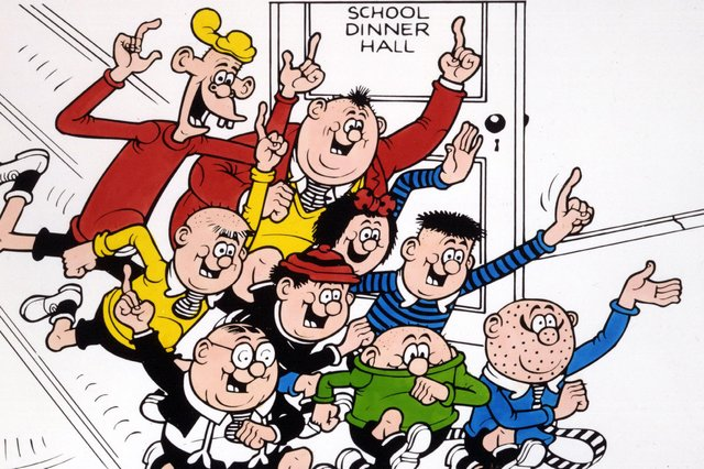The Bash Street Kids including Fatty - sorry, Freddy - in a dash for their peashooters and catapults to take on the PC brigade