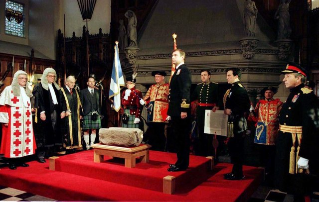 His Royal Highness the Duke of York hands over the Royal Warrant for safe-keeping of the Stone of Destiny, in the Great Hall in Edinburgh Castle