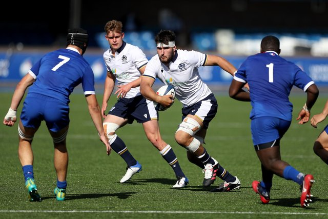 Scotland's Alex Samuel in action against France during the U20 Six Nations.  He is part of the academy for the next season and will play for the Ayrshire Bulls in Super6.