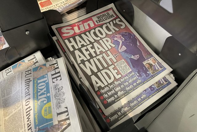 A view of copies of The Sun newspaper on a newsstand in London. Picture: Dan Kitwood/Getty Images