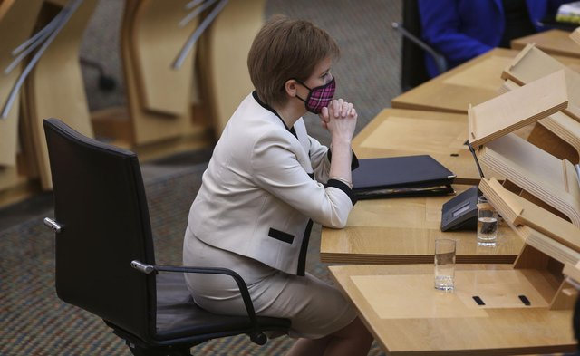 First Minister Nicola Sturgeon during First Minister's Questions at the Scottish Parliament in Holyrood, Edinburgh. Picture date: Wednesday March 24, 2021.