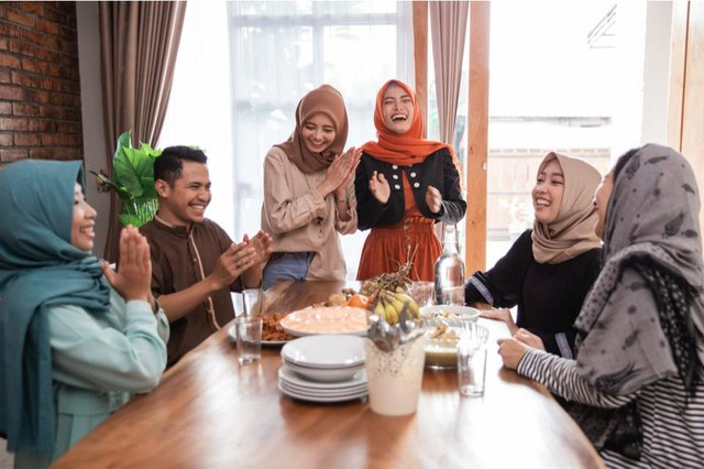 Muslims celebrate with feasts and prayers with family, friends and the wider community
