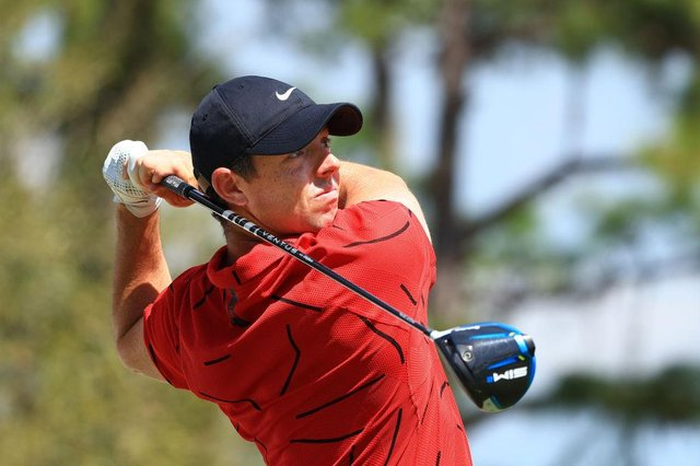 Rory McIlroy wearing a red top in the final round of World Golf Championships-Workday Championship at The Concession in Bradenton, Florida. Picture: Mike Ehrmann/Getty Images.