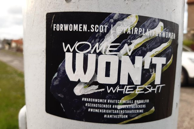 Stickers placed on lampposts in one Kirkcaldy street sparked a social media warning from Police Scotland about their 'controversial' nature but the investigation concluded no crime had been committed (Picture: Fife Free Press)