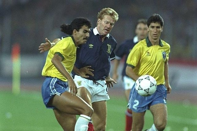 Scotland could have qualified from their group at Italia '90 with a win over Brazil. Picture: Simon Bruty/Allsport