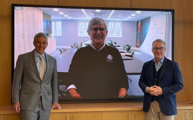 PGA Tour commissioner Jay Monahan, left, and European Tour chief executive Keith Pelley, right, pictured with European Tour chairman David Williams. Picture: European Tour