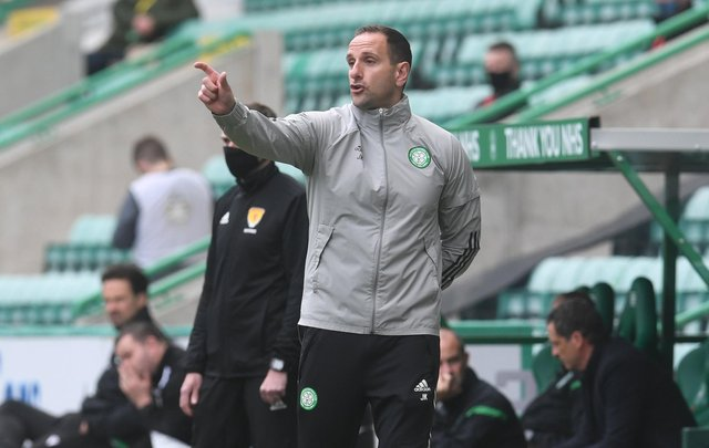 Celtic interim manager John Kennedy during the  Scottish Premiership match between Hibs and Celtic  at Easter Road  on May 15, 2021, in Edinburgh, Scotland. (Photo by Craig Foy / SNS Group)