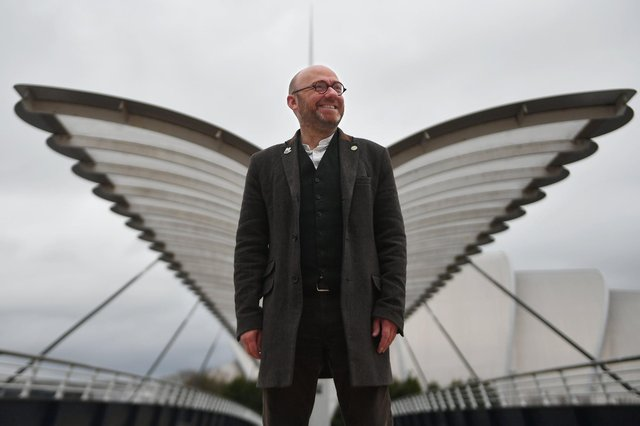 Scottish Greens co-leader Patrick Harvie visits Glasgow ahead of the COP26 global climate summit in November.
