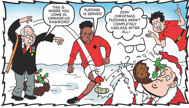 Captain Sir Thomas Moore and Marcus Rashford feature in the Beano's new comic for adults, saving Christmas by rumbling a plan to steal all Christmas presents (Image: PA Media/Beano)