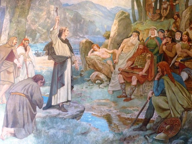 St Columba depicting coverting the Picts in a painting by William Brassey Hole. PIC: Creative Commons.