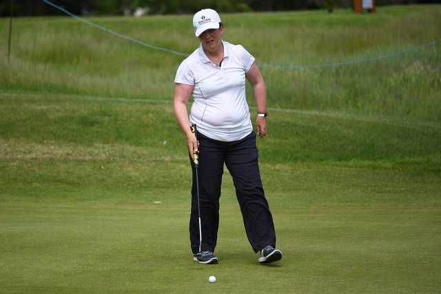 Elaine Moffat in action during the Scottish Senior Women's Open at Aberdour. Picture: Scottish Golf