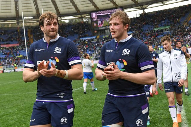 Scotland's second-row brothers Richie and Jonny Gray after the Six Nations win over Italy in 2018.