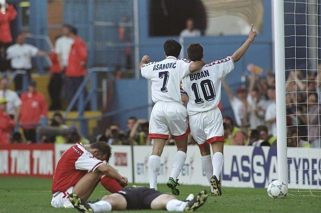 Aljosa Asanovic and Zvonimir Boban celebrate as Croatia defeat Denmark 3-0 in the Euro 96 group stages. Picture: SNS