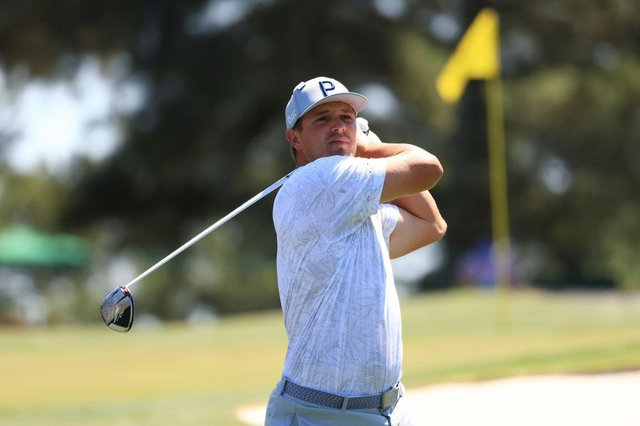 Bryson DeChambeau during a practice round prior to the Masters at Augusta National Golf Club. Picture: Mike Ehrmann/Getty Images.