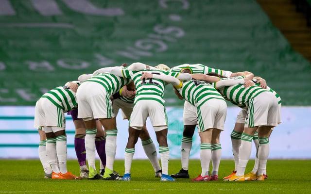Celtic players huddle pre-match. Picture: SNS