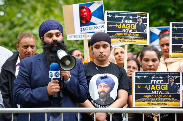 Jagtar Singh Johal (Jaggi) protest at the London Indian Consulate in 2018.
