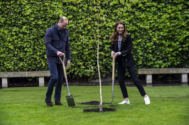Prince William and Kate plant the first tree for the St Andrews Forest, one of the key initiatives in St Andrews University's action plan to become carbon neutral by 2035 (Picture: Andy Buchanan/PA)