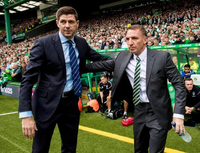 Steven Gerrard with then Celtic manager Brendan Rodgers before his first Old Firm game in charge of Rangers in September 2018. (Photo by Alan Harvey/SNS Group).