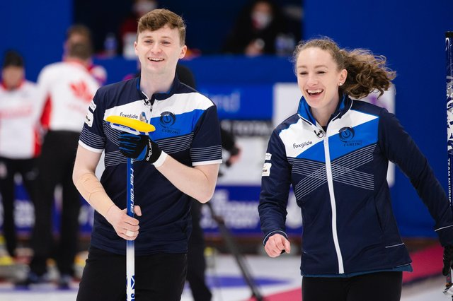 All smiles for Jennifer Dodds and Bruce Mouat at the World Mixed Doubles Championship in Aberdeen. Picture: Celine Stucki/WCF