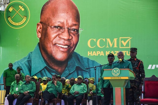 The late president of Tanzania, John Magufuli, at the official launch of his party's campaign for the October 2020 general election before his death, officially from heart disease, but rumoured to have been Covid-related (Picture: Ericky Boniphace/AFP via Getty Images)