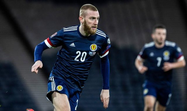 Scotland's Oli McBurnie during a World Cup qualifier between Scotland and the Faroe Islands at Hampden Park, on March 31, 2021, in Glasgow, Scotland. (Photo by Craig Williamson / SNS Group)