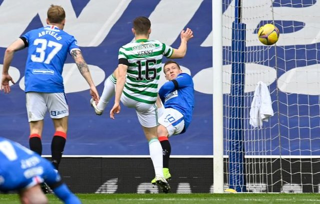 Steven Davis opens the scoring for Rangers against Celtic at Ibrox with an acrobatic close range shot. (Photo by Rob Casey / SNS Group)