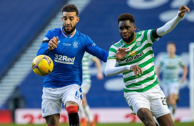 Rangers' Connor Goldson (left) holds off Celtic's Odsonne Edouard in the Old Firm match at Ibrox on January 02 (Photo by Craig Williamson / SNS Group)