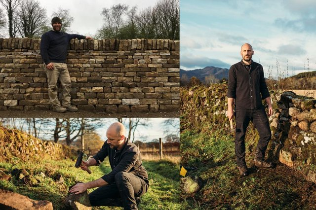 Martin Tyler (top left) and Luke De Garis (right) are some of the youngest dry stone wallers in the country working hard to keep the ancient profession alive pictures: Martin Tyler and Kristie De Garis