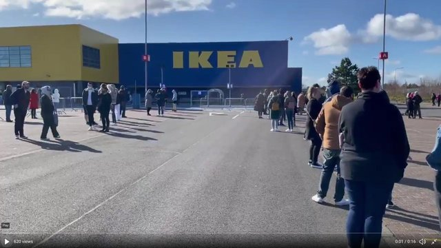 A huge queue formed at Ikea in Glasgow on Monday as the store reopened. Picture: Brendan McIlroy