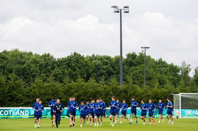 The Scotland squad during a training session at Rockliffe Park, Darlington on Sunday. (Photo by Ross MacDonald / SNS Group)