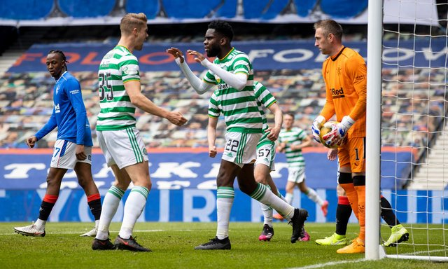 Celtic striker Odsonne Edouard celebrates with Kris Ajer after scoring to make it 1-1. (Photo by Craig Williamson / SNS Group)