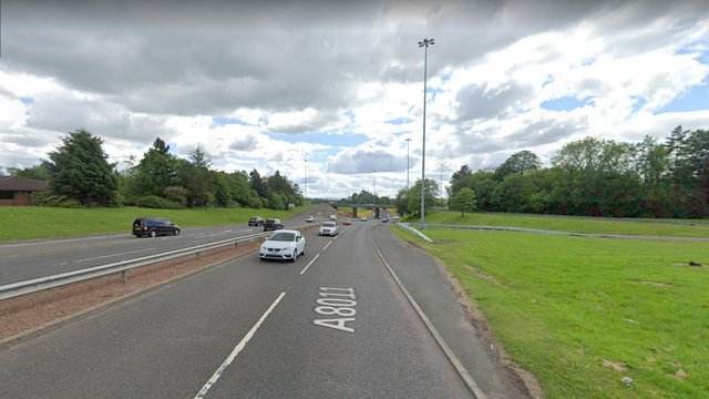 A8011 & Central Way, Cumbernauld, Glasgow, where the crash happened.
