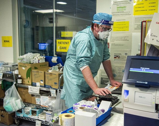 Staff must wear full PPE while in the ICU. Picture: Lisa Ferguson
